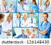 Collage of successful clinicians in hospital - stock photo