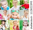 collage of summer photos of a little girl - stock photo