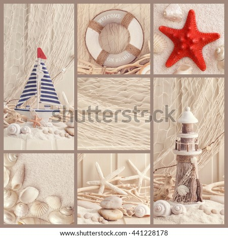 Collage of summer sea decoration - stock photo