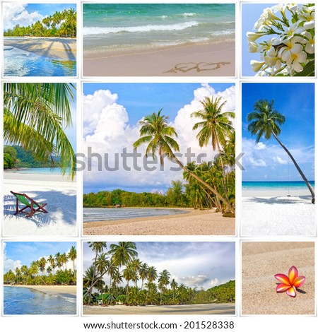 Collage of summer tropical beach image. Nature and travel background - stock photo