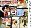 Collage of supermarket related images - stock photo