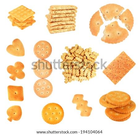 Collage of tasty cookies isolated on white - stock photo