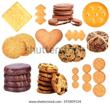 Collage of tasty cookies isolated on white