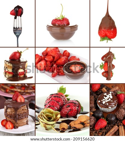 Collage of tasty desserts with strawberry and chocolate - stock photo