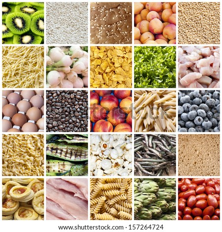 Collage of  tasty food backgrounds - stock photo