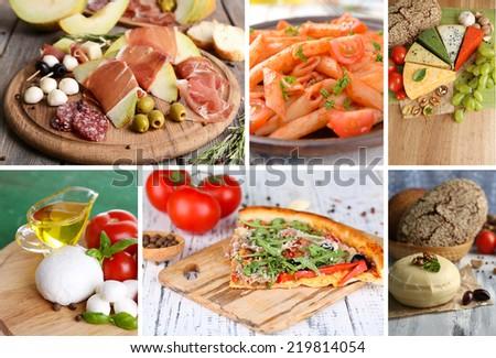 Collage of tasty Italian food - stock photo