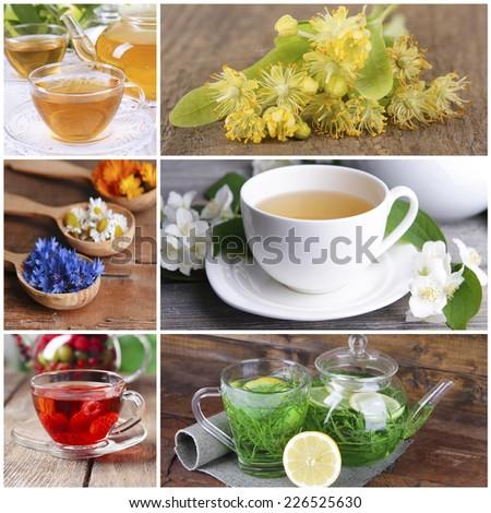 Collage of tasty tea - stock photo