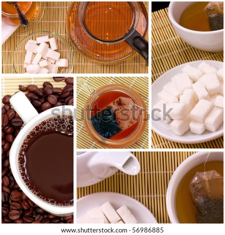 Collage of tea anf coffee drink related pictures made from five images