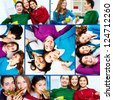 Collage of teenage friends enjoying themselves - stock photo
