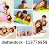 Collage of teenage friends having summer rest on the beach - stock photo