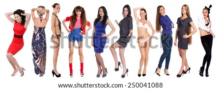 Collage of ten beautiful sexy women, isolated on white - stock photo