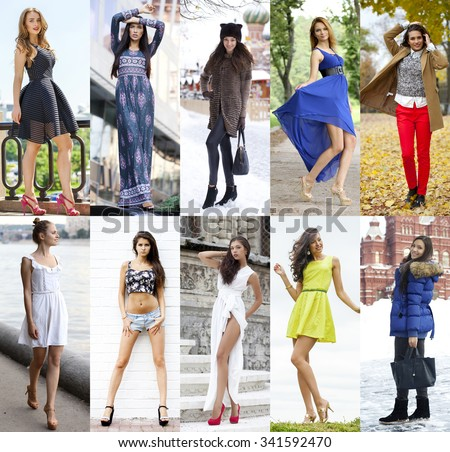 Collage of ten different models in fashionable clothes for the seasons, outdoors - stock photo