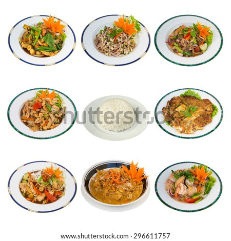 Collage of Thai Food With Rice in the middle isolated on White Background