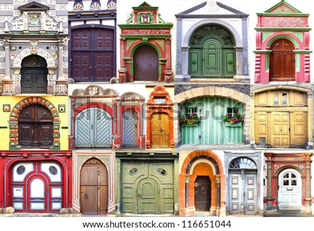 Collage of the ancient unique doors, portals and gates. Germany - stock photo