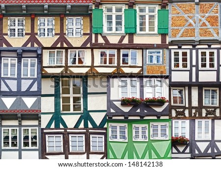 Collage of the ancient unique fahverk houses. - stock photo