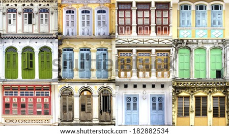 Collage of the ancient unique windows. Georgetown, Malaysia - stock photo