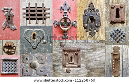 Collage of the fragments old doors. France - stock photo