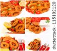 Collage of the fried calamari rings - stock photo