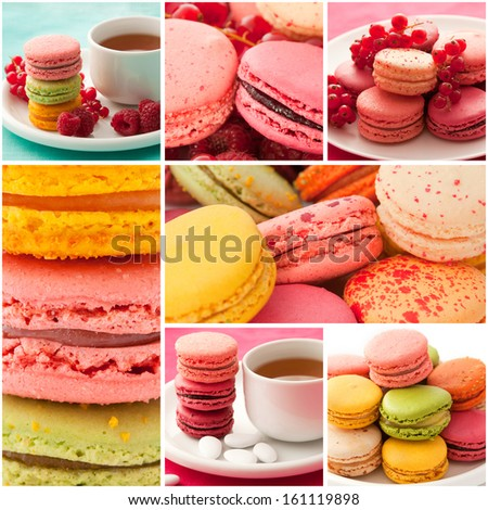 Collage of the pictures with colorful macaroons - stock photo