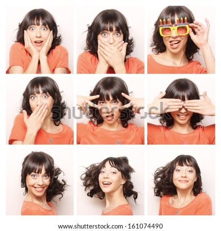 Collage of the same woman making diferent expressions. - stock photo
