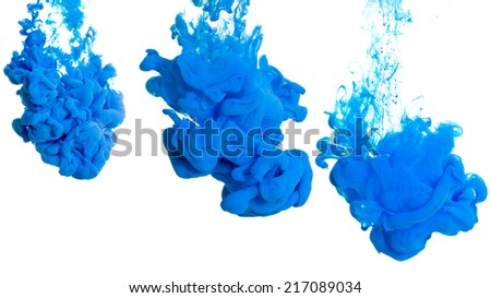 Collage of three photos of blue dye in the water, the stages of dissolution - stock photo