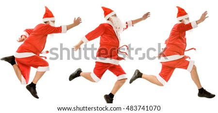 Collage of three santa clauses  jumping on a white background