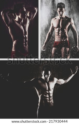 Collage of three square images of young handsome macho man with muscle abdominal