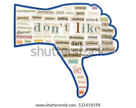 collage of thumb down from words cut out of magazine and newspaper - stock photo