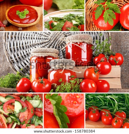 Collage of  tomatoes - stock photo
