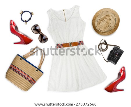 Collage of tourist clothing and accessories isolated on white - stock photo