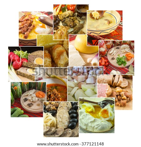 collage of traditional romanian food dished on white - stock photo