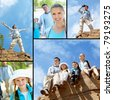 Collage of travelers on rocky cliff and in the forest - stock photo