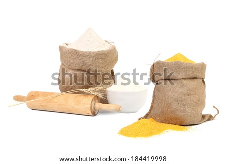 Collage of two bags with flour. Isolated on a white background. - stock photo
