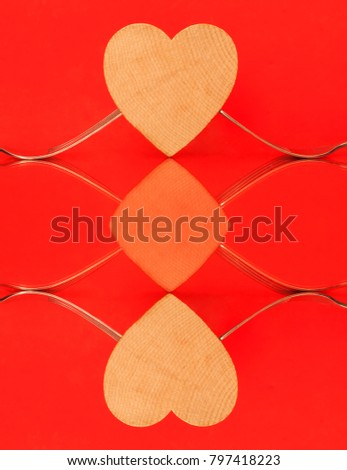 Collage of two images: heart with forks on table. Dinner. Valentine's day concept