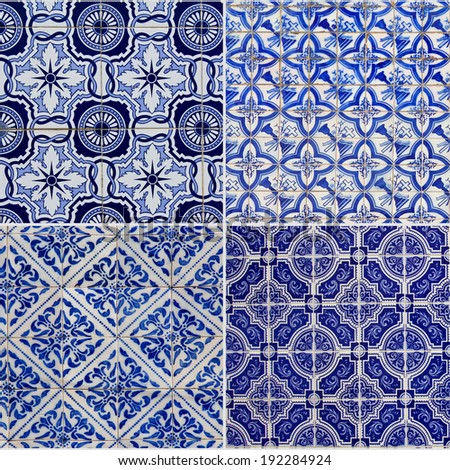 Collage of typical Portuguese patterns azulejo - stock photo