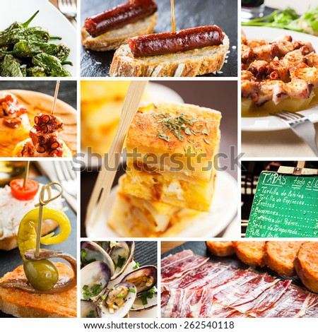 Collage of typical spanish tapas food. - stock photo