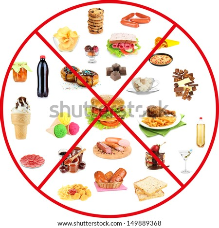 Collage of unhealthy food - stock photo