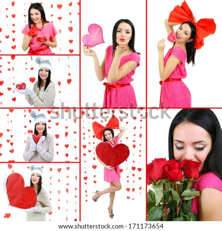Collage of Valentine's Day. Attractive young woman. - stock photo