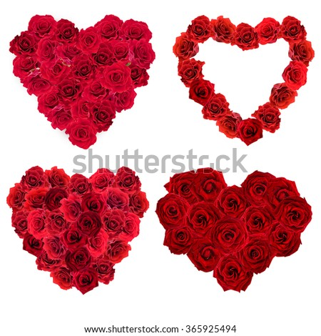 Collage of Valentines Day heart made of red roses isolated on white - stock photo