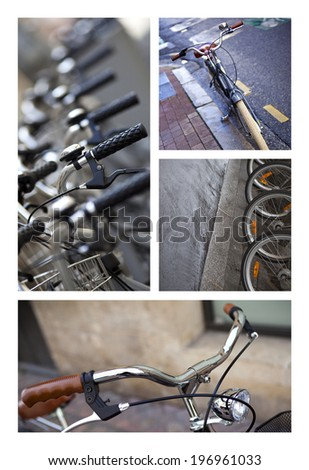 Collage of various bikes on a street