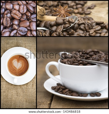Collage of various coffee images - stock photo