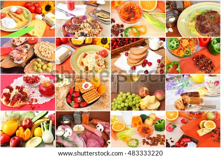 Collage of various delicious meals of meat, poultry, fish.Snacks and desserts.Vegetarian salad, dairy products, soups and beverages. Diverse food to suit different tastes