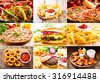 collage of various fast food products - stock photo