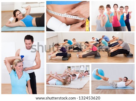 Collage of various fitness images with people exercising - stock photo