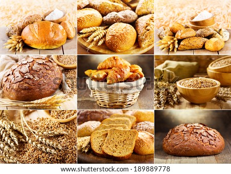 collage of various fresh bread - stock photo