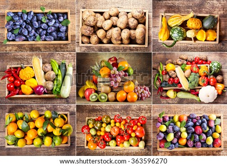 collage of various fruits and vegetables in wooden box - stock photo