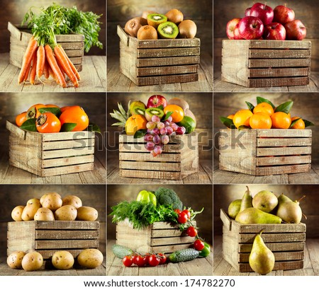 collage of various fruits and vegetables on wooden box - stock photo