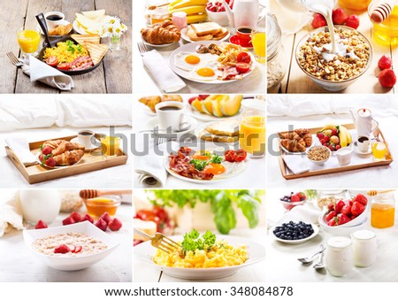 collage of various healthy breakfast - stock photo