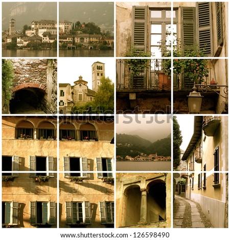 Collage of various Italian scenes - stock photo