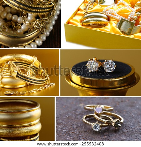 collage of various jewelry of gold and precious stones (bracelets, necklaces, earrings, chains) - stock photo